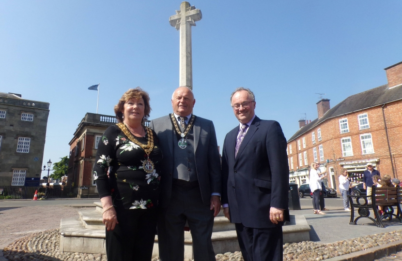 Rupert and the Mayor of Hinckley and Bosworth and her Consort.